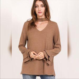 Sweaters - Bell sleeve choker sweater